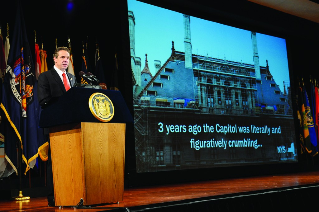 Gov. Andrew Cuomo delivers his fourth and final State of the State address of his first term last Wednesday in an Albany convention center. (Office of the Governor)