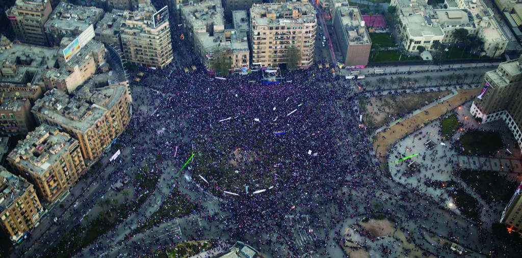 An aerial view of a pro-military rally marking the third anniversary of the uprising that toppled autocrat Hosni Mubarak in Tahrir Square in Cairo, Egypt. (AP Photo/Hassan Ammar)