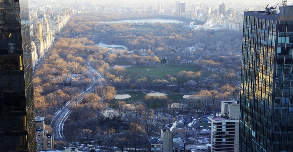 A view of Central Park from a hotel room on the 62nd floor of the Courtyard-Residence Inn Central Park, Wednesday. (AP Photo/Mark Lennihan)