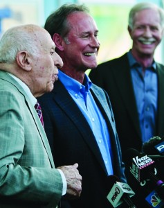 """Captain """"Sully"""" Sullenberger, far right, with surviving passenger Barry Leonard, center, and N.Y. Waterway ferry founder Arthur Imperatore on Wednesday. (AP Photo/Bebeto Matthews)"""