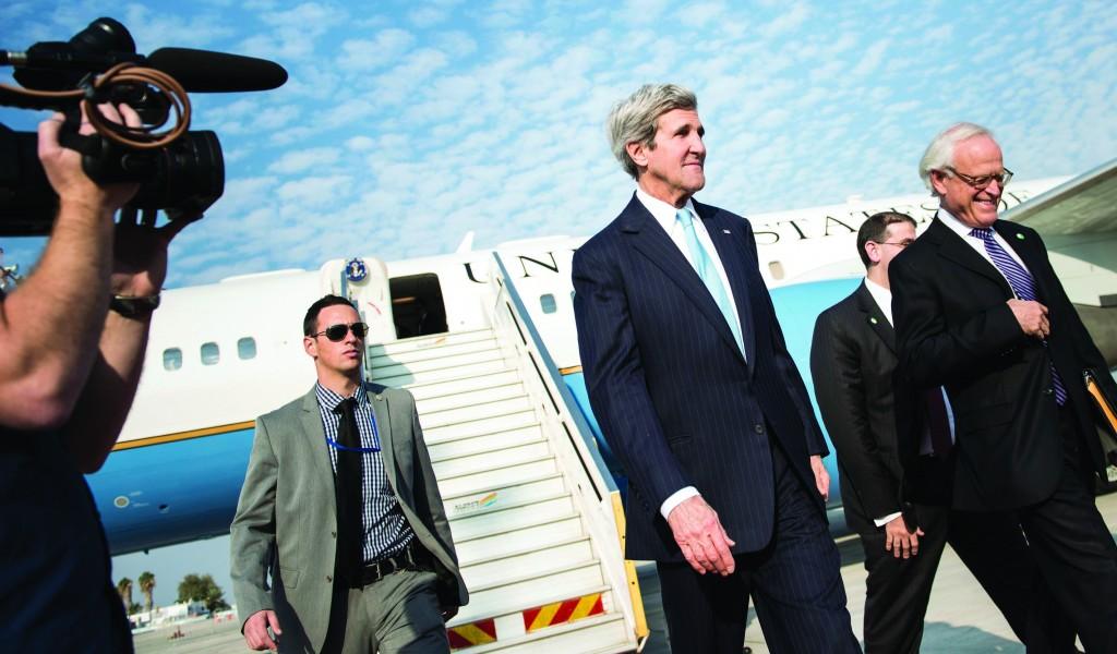 Secretary of State John Kerry (C) arriving at Ben Gurion Airport on Thursday. (REUTERS/Brendan Smialowski/Pool)