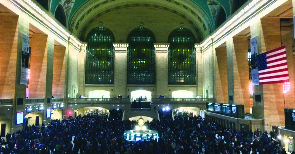 Travelers crowd Grand Central Station after a power problem with Metro-North Railroad's computer system, Thursday. (AP Photo/PIX11 News, Rolando Pujol)