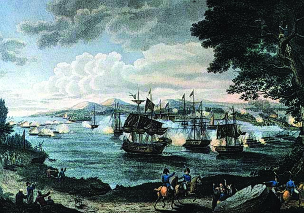 An 1816 engraving by B. Tanner of the naval battle on Lake Champlain in 1812.