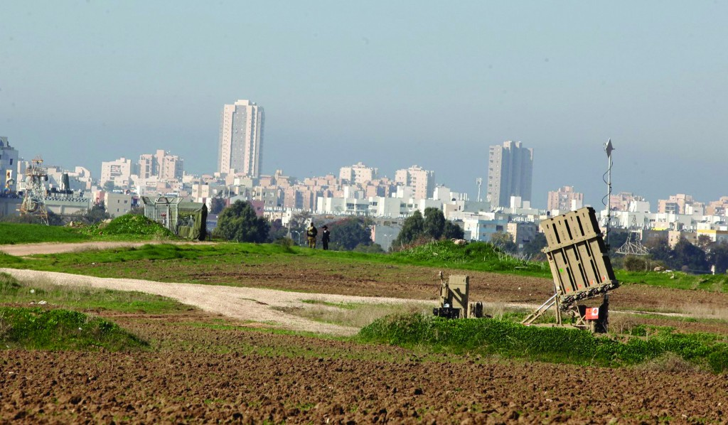 An Iron Dome missile defense battery deployed near Ashdod on Monday.  (Flash90)