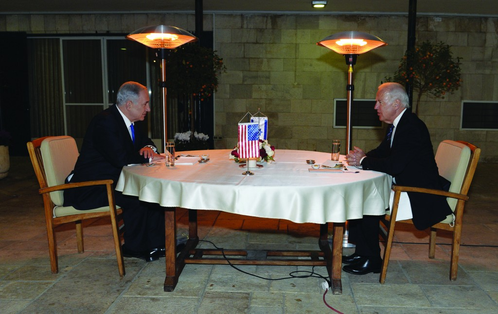 Israeli Prime Minister Binyamin Netanyahu, meets with Vice-President Joe Biden, Monday. Biden was in the country for the funeral of Ariel Sharon. (Matty Stern/US Embassy of Tel Aviv/Flash 90)