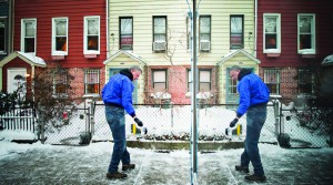 Mayor Bill de Blasio shovels snow outside his Brooklyn home on Wednesday. (Rob Bennett/Office of the Mayor)