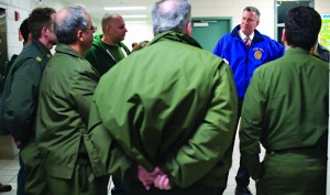 Mayor Bill de Blasio thanks sanitation workers in Manhattan on Tuesday. (Rob Bennett/Office of the Mayor)