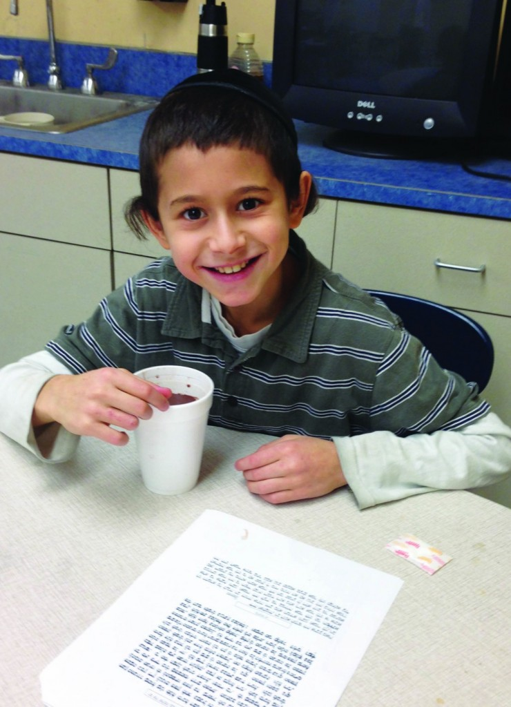 A talmid enjoys the sweetness and warmth of a cup of hot chocolate at Yeshiva Elementary School of Milwaukee. However, nothing could compare to the sweetness and warmth of the Torah heard throughout the day despite the frigid temperatures.