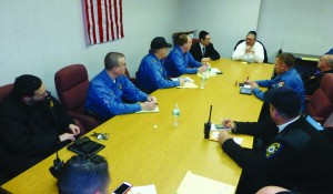 Lakewood Mayor Menashe Miller chairs a meeting of the township's sanitation and emergency workers on Tuesday in preparation for the snowstorm. (TheLakewoodScoop.com)