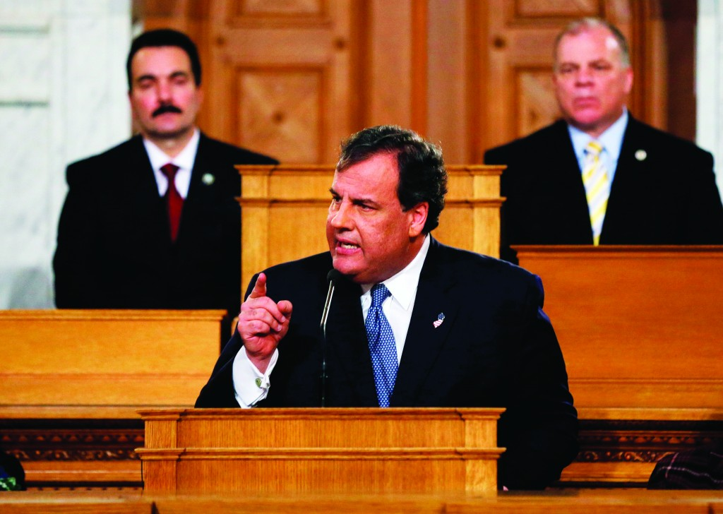 New Jersey Gov. Chris Christie delivers his State of the State address at the Statehouse in Trenton Tuesday. (AP Photo/Mel Evans)