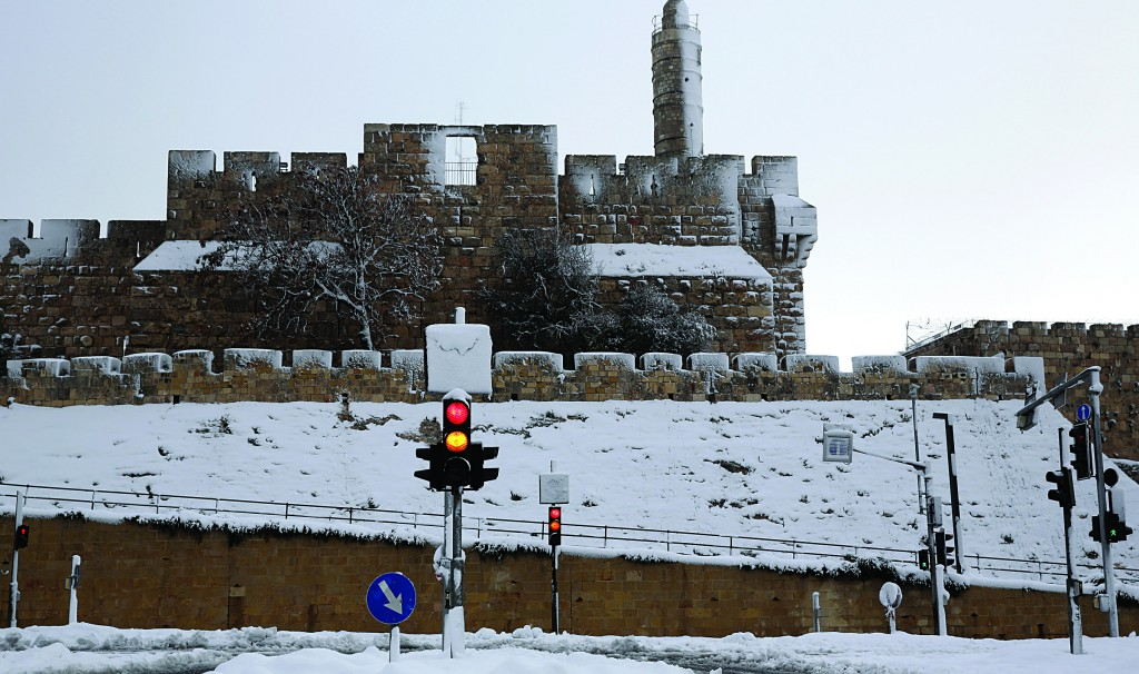 The Tower of David in the Old City of Yerushalayim, seen during December's massive snowstorm. (Nati Shohat/Flash 90)