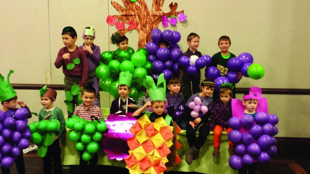 Yeshiva Ohr Shraga Veretzky preschool children celebrating Tu BiShvat on Thursday. (Yeshiva Ohr Shraga Veretzky)