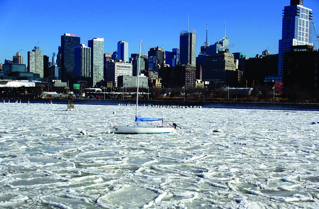 Ice floes on Friday cover the Hudson River near Manhattan's West Side. (AP Photo/Malcolm Ritter)