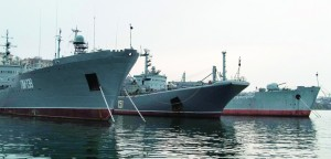 Russia's Large Landing Ship Azov (C) is pictured moored at the home base of Russia's Black Sea Fleet in the Crimean port of Sevastopol Monday.  (REUTERS/Stringer)