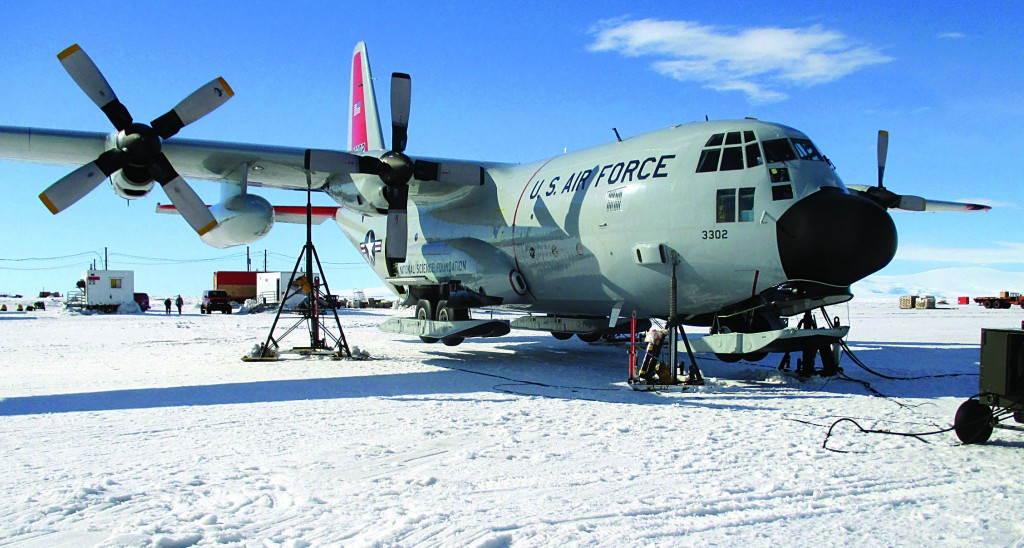 A Skibird from the New York Air National Guard on the frozen ice shelf in Antarctica last month. (Air Force Master Sgt. Kevin Phillips/Air National Guard)