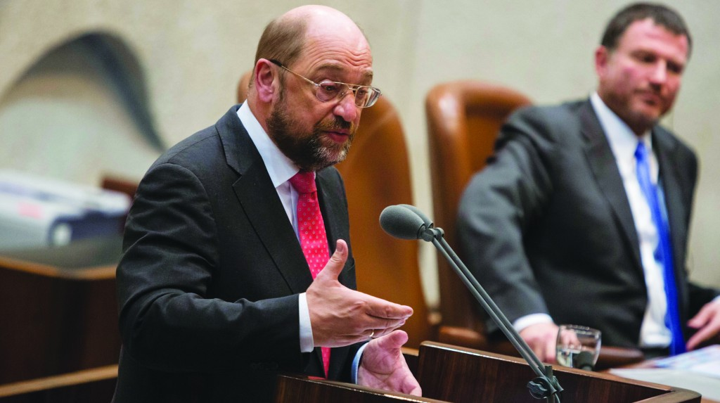 President of the European Parliament Martin Schulz addressing the Knesset on Wednesday. (Flash 90)