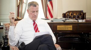 Mayor Bill de Blasio during a last minute review in his office of his State of the City address. (Office of the Mayor)