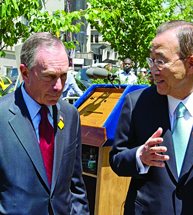 Former Mayor Michael Bloomberg walks with U.N. chief Ban Ki-Moon in New York last week. (Twitter/MikeBloomberg)