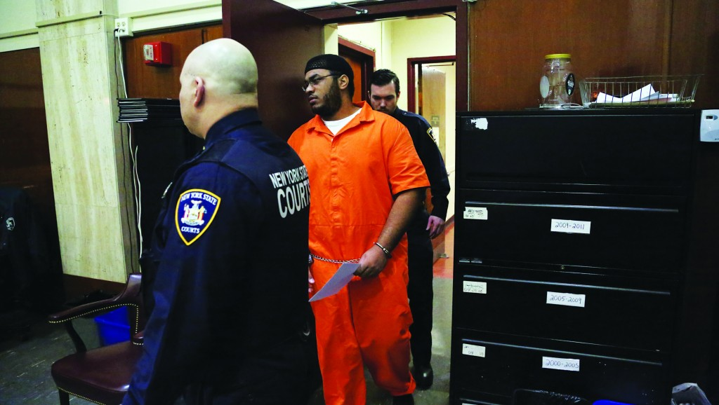 Jose Pimentel appears Wednesday in a courtroom in New York. (AP Photo/The Daily News, Jefferson Siegel)