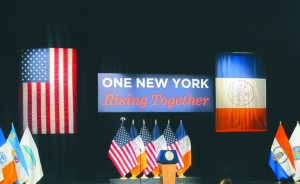 The stage is set Monday for Mayor Bill de Blasio's State of the City address at LaGuardia Community College. (AP Photo/Mark Lennihan)