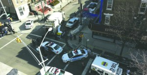 "An aerial view of the tragic scene where Gedalia Greenzayd, z""l, was killed in Crown Heights on Sunday morning. (Collive.com)"