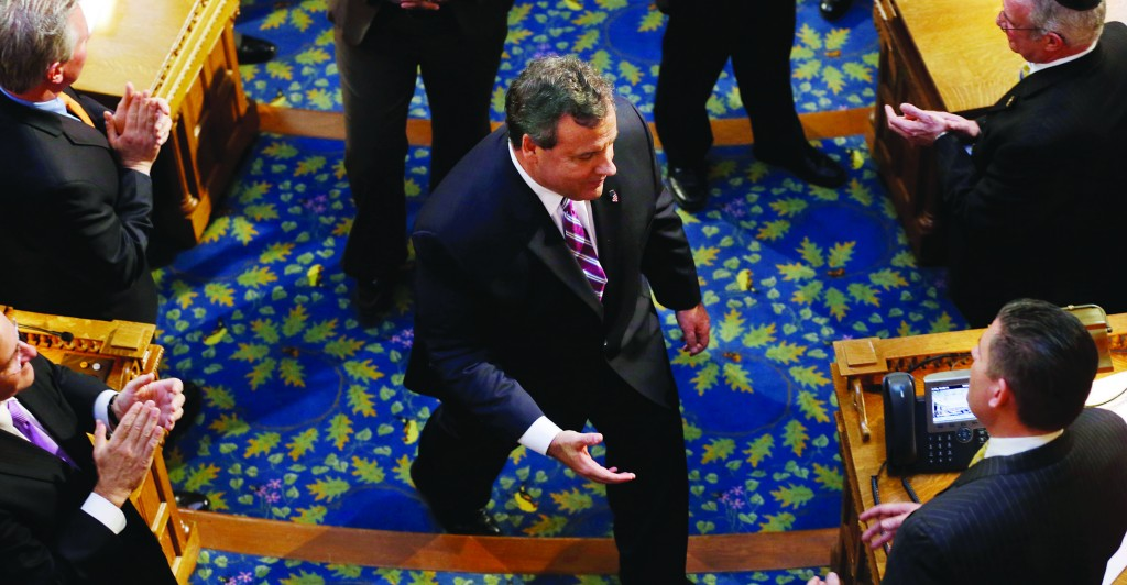 New Jersey Gov. Chris Christie leaves the Statehouse after delivering his budget address Tuesday. (AP Photo/Mel Evans)