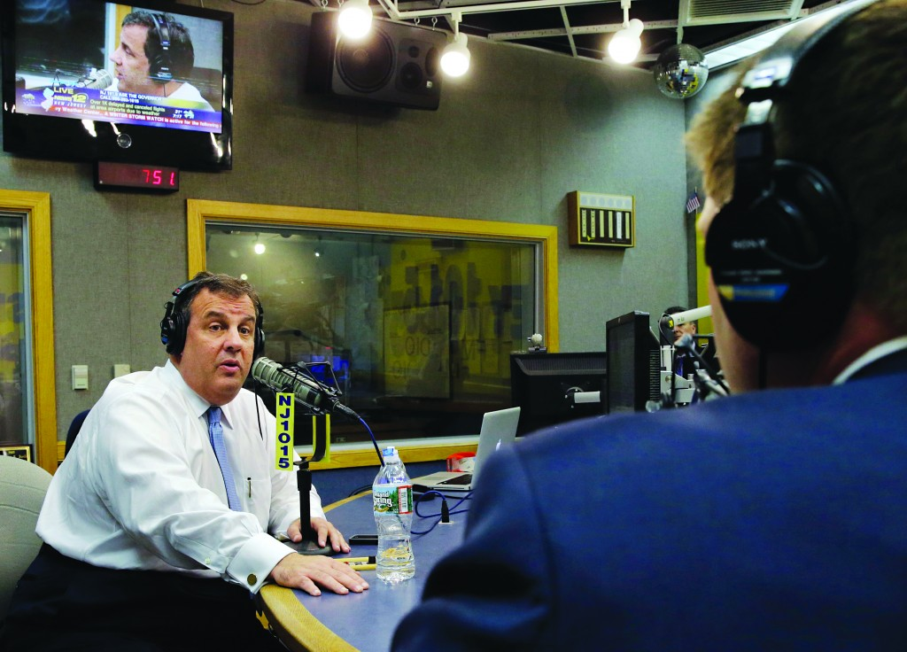 """New Jersey Gov. Chris Christie on Monday during his radio program, """"Ask the Governor."""" (AP Photo/Mel Evans)"""