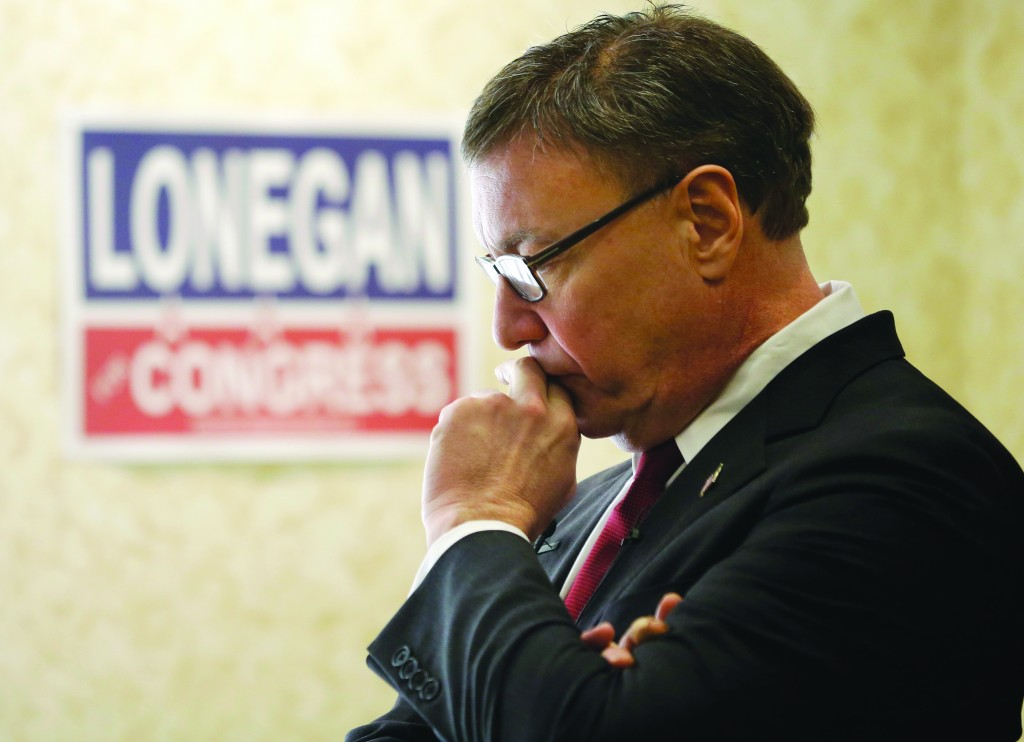 Steve Lonegan waits to be introduced at his campaign kickoff Thursday in Toms River, N.J. (AP Photo/Mel Evans)