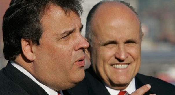 Gov. Chris Christie (L) with former New York City Mayor Rudy Giuliani. (AP Photo)