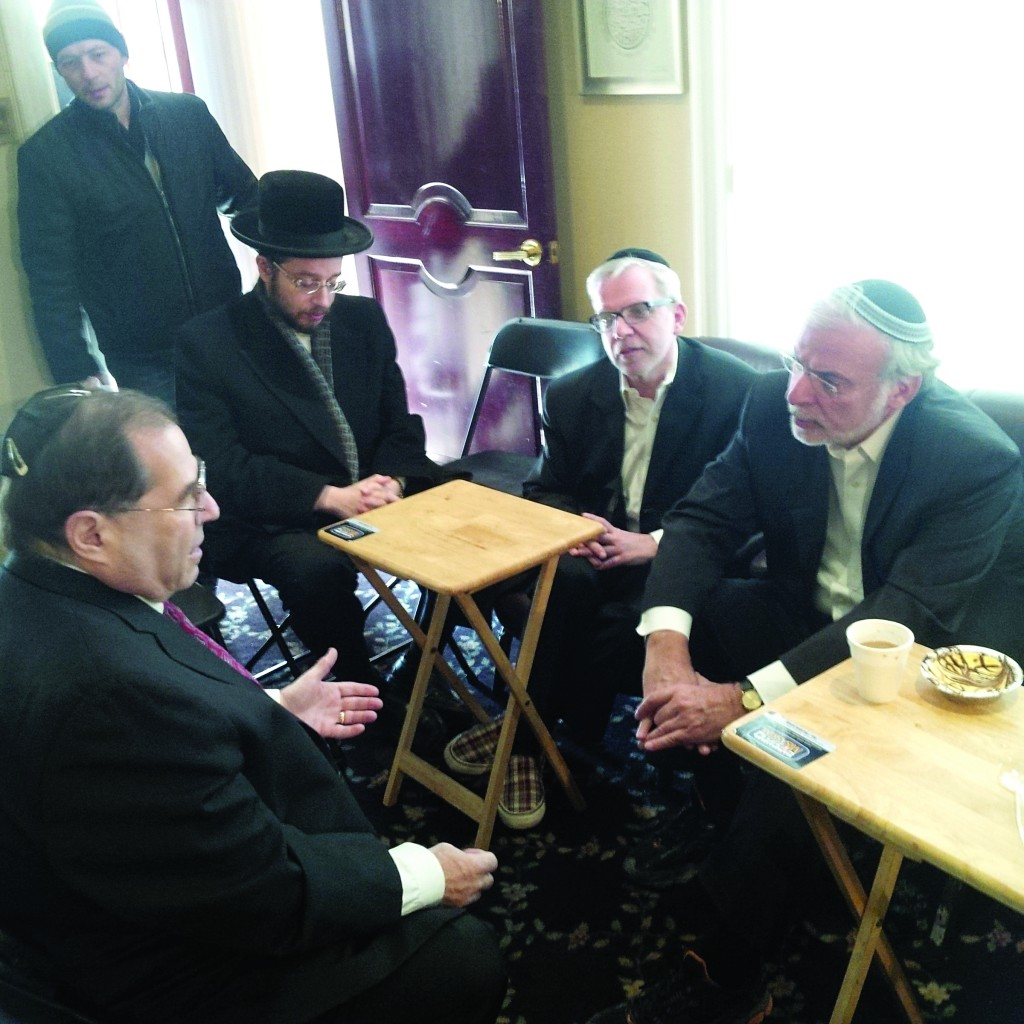 Rep. Jerry Nadler (D-Brooklyn) on Sunday at the nichum aveilim of Assemblyman Dov Hikind (right) and his brother Pinchus, who are sitting shivah for their brother Moshe who was niftar last week. (The Friedlander Group)