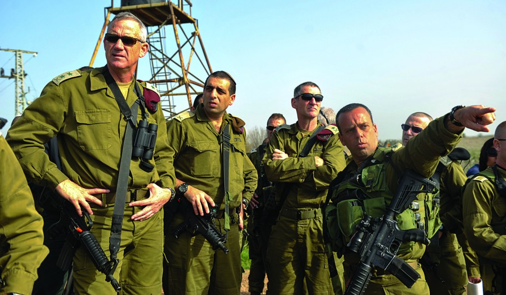IDF Chief of Staff Lt.-General Benny Gantz (L) seen during a tour in the Golan Heights on Sunday. (IDF Spokesperson/FLASH90)