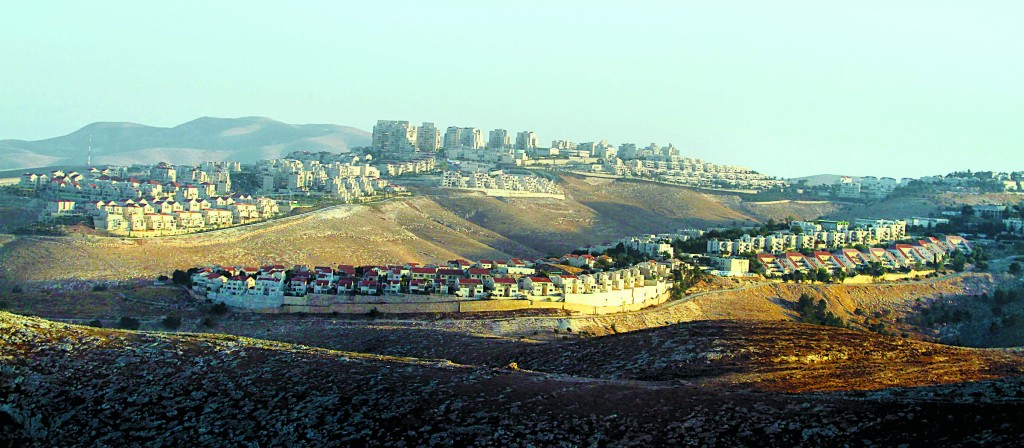 A view of Maaleh Adumim, with the E1 corridor, near Yerushalayim. (Issam Rimawi/Flash90)