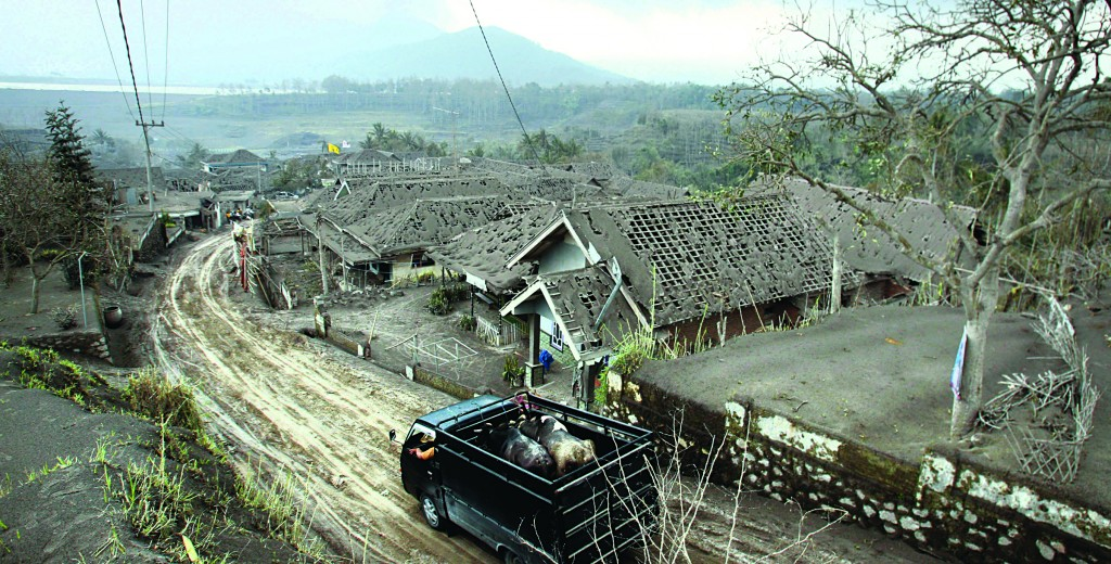 A truck carries animals for evacuation past houses covered with ash following an eruption of Mount Kelud, in Malang, East Java, Indonesia. The eruption of the 1,731-meter (5,680-foot) -high mountain on Java island late Thursday was one of the most dramatic to hit Indonesia in recent years, with ash falling as far as 370 miles away. (AP Photo/Trisnadi)