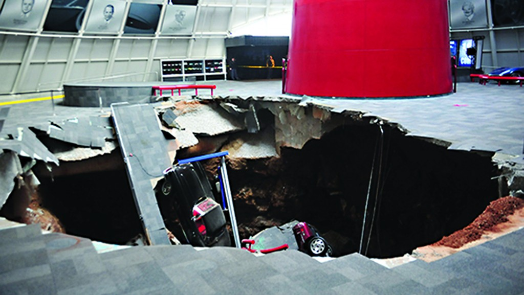 A gaping sinkhole collapsed part of the National Corvette Museum in Kentucky on Wednesday, damaging eight prized cars that plunged in a heap while the attraction geared to the classic American sports car was closed to visitors. (AP Photo/National Corvette Museum, HO)