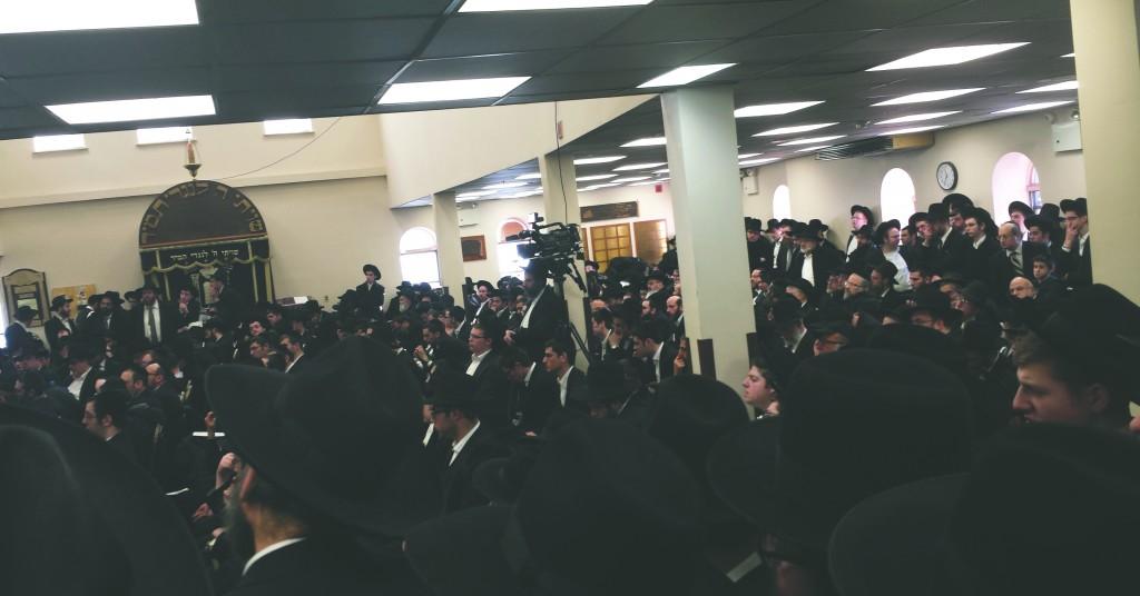 A view of the levayah of Harav Mordechai Rennert at Derech Chaim, Sunday. (Shimon Gifter)