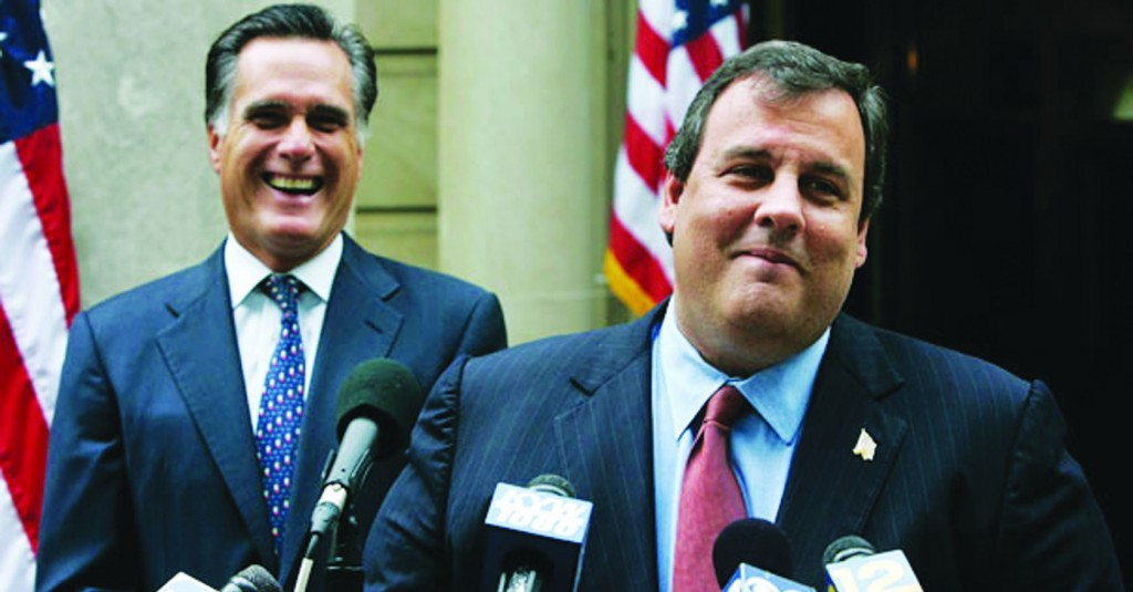 New Jersey Gov. Chris Christie (R) and Gov. Mitt Romney (L) during the 2012 presidential campaign. (AP Photo)