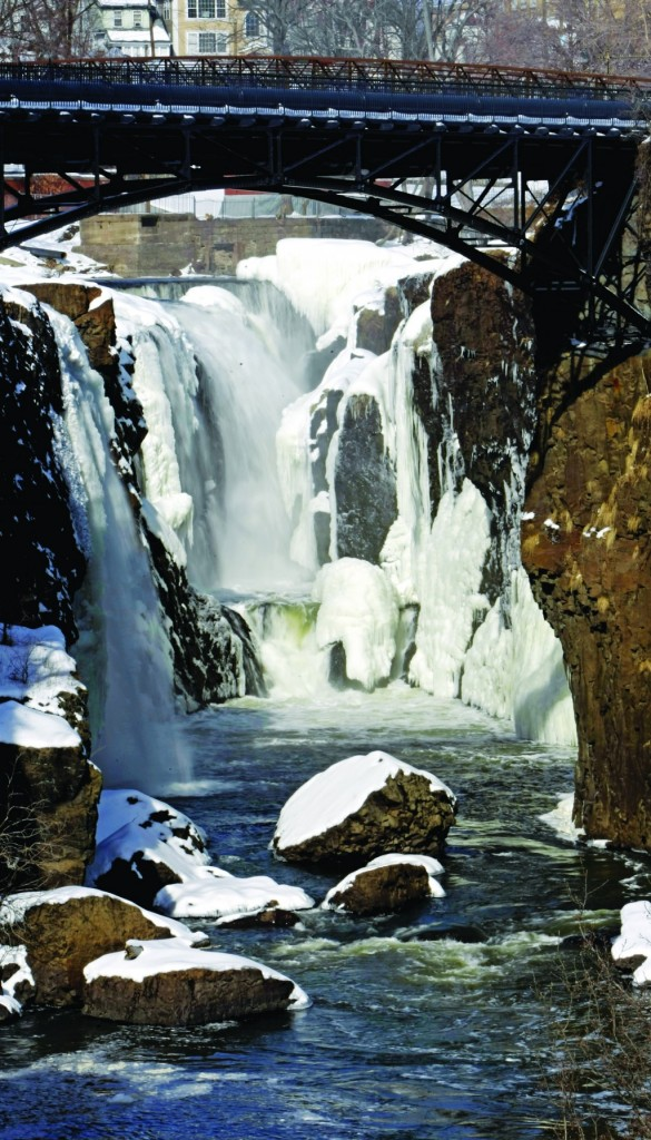 The Great Falls is frozen in Paterson, N.J., Sunday. (AP Photo/Northjersey.com, George McNish)