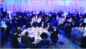 Nearly 300 yungeleit learning the entire Shas on Sunday at the Ocean Place Resort in Long Branch, N.J., (L) followed by a gala siyum (R).