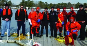 Lakewood's emergency services on Tuesday had their first ever joint training session to practice a response in an icy water rescue condition.  (TheLakewoodScoop.com)