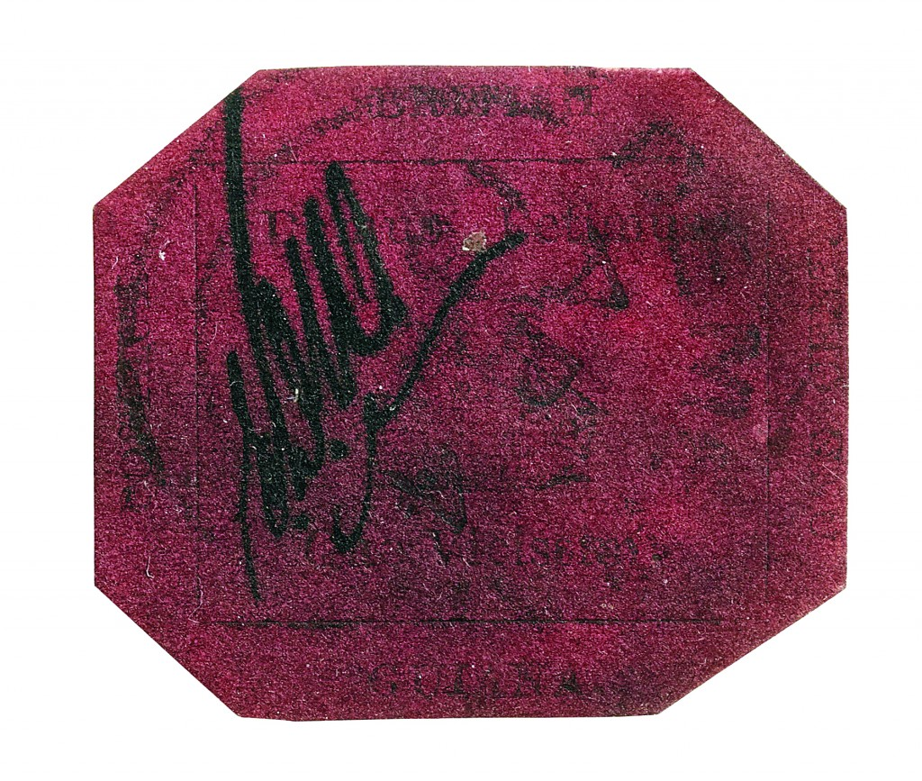 The one-cent 1856 British Guiana stamp. (AP Photo/Sotheby's Auction House)