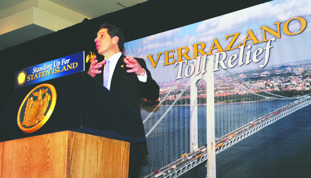 Gov. Andrew Cuomo on Thursday announces an agreement to lower tolls for Staten Island residents and commercial vehicles using the Verrazano Bridge. (Office of the Governor)