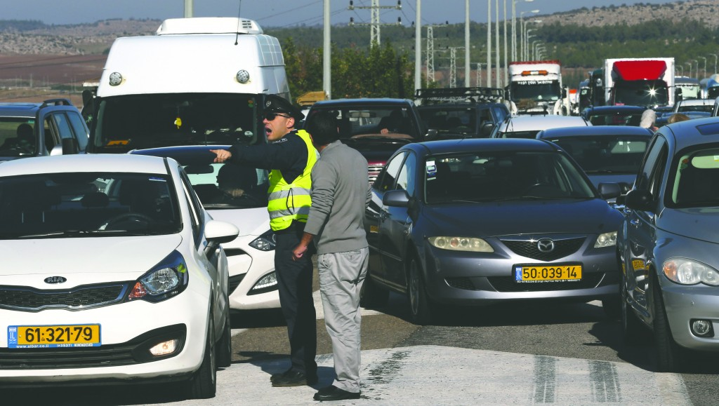 Cars stuck in a traffic jam on Route 1 recently. (Nati Shohat/Flash 90)