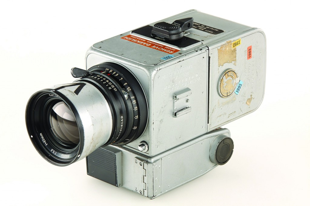 A Hasselblad 500 camera which was part of the equipment carried by the 1971 Apollo 15 mission — and the only camera ever bought back from the moon. It was put on auction Saturday, March 22, 2014 and was sold for nearly $760,000. Westlicht identifies the new owner as Japanese businessman Terukazu Fujisawa. It says the owner of an electronics chain placed his winning bid of 550,000 euros by phone.  (AP Photo/Galerie Westlicht)