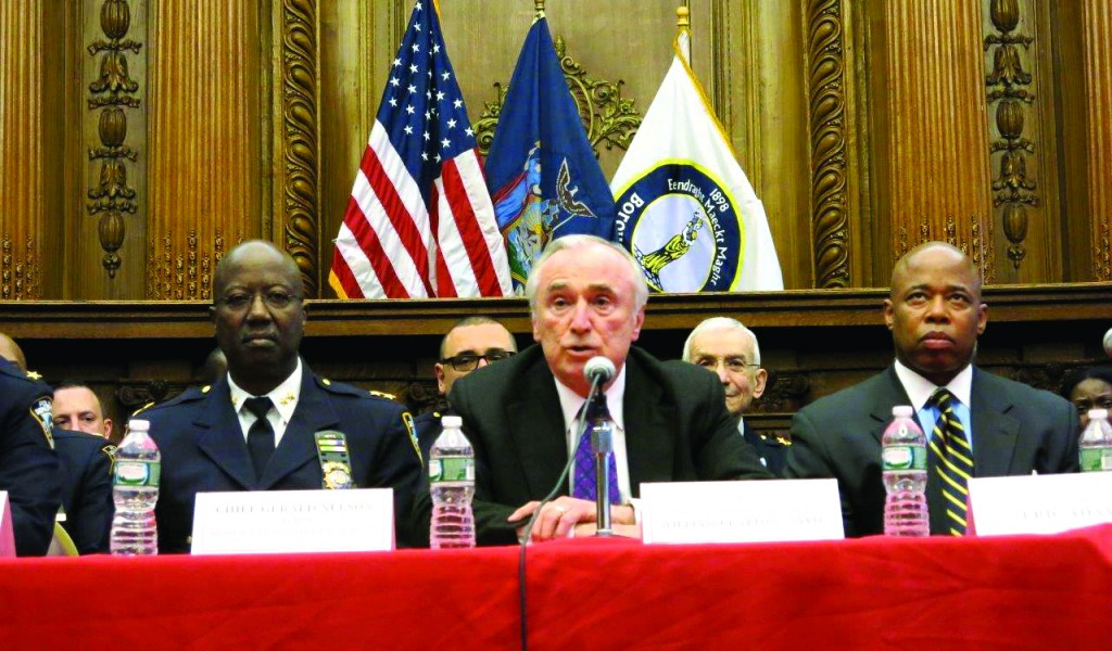 Police Commissioner Bill Bratton speaks Monday to Jewish community leaders at an event hosted by Brooklyn Borough President Eric Adams (R). (JDN)