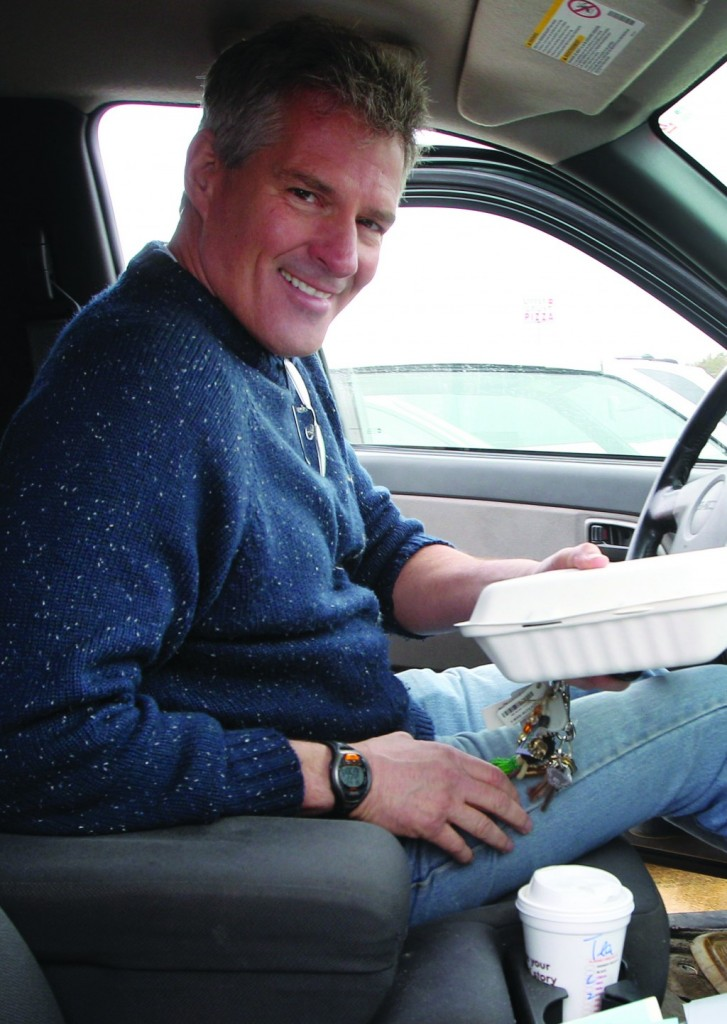 Scott Brown in his pick-up truck in Tilton, N.H. as he makes his way through the state on Saturday. (AP Photo/Jim Cole)