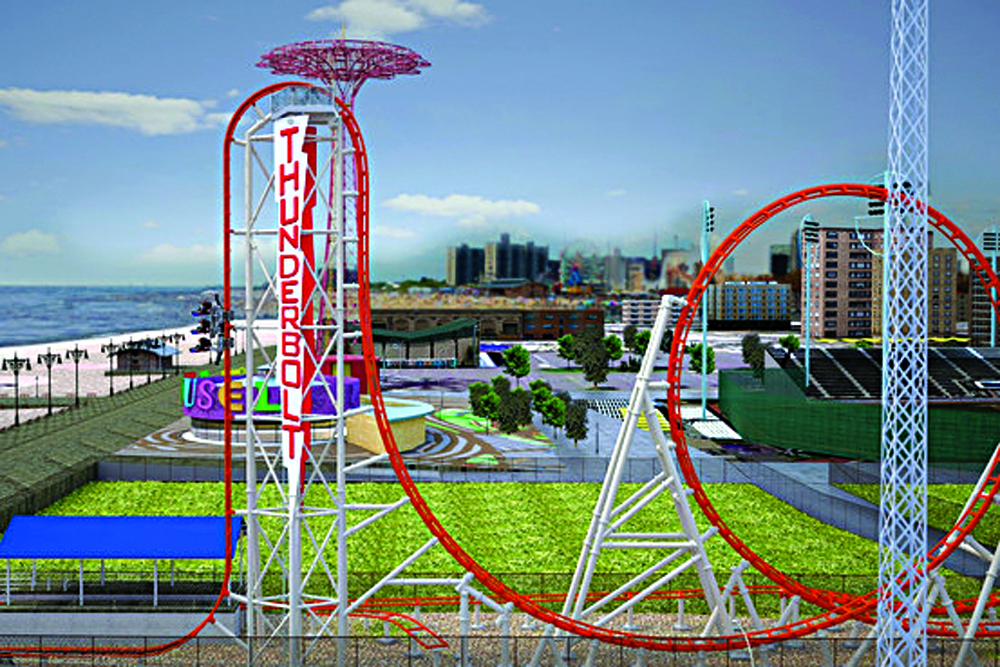 An artist's rendering of Luna Park's new Thunderbolt roller coaster. (Zamperla)