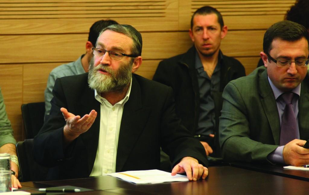 United Torah Judaism MK Rabbi Moshe Gafni (C) speaks at the Shaked Committee.  (Isaac Harari/ FLASH90)