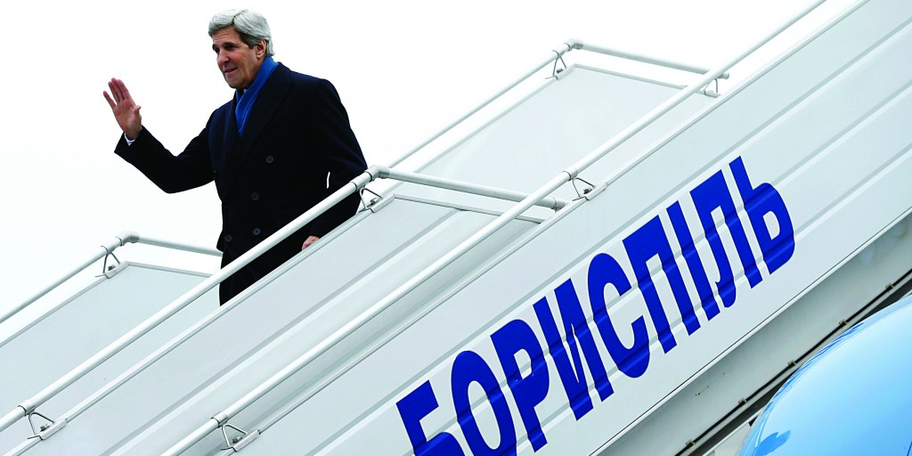 Secretary of State John Kerry arrives in Kiev, Ukraine, Tuesday. (AP Photo/Kevin Lamarque, Pool)