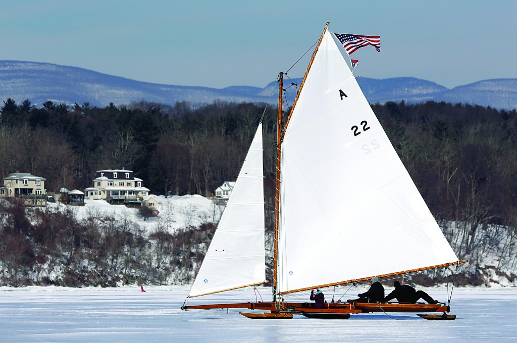 An ice boat sails along the Hudson River last Saturday in Barrytown, N.Y. (AP Photo/Mike Groll)