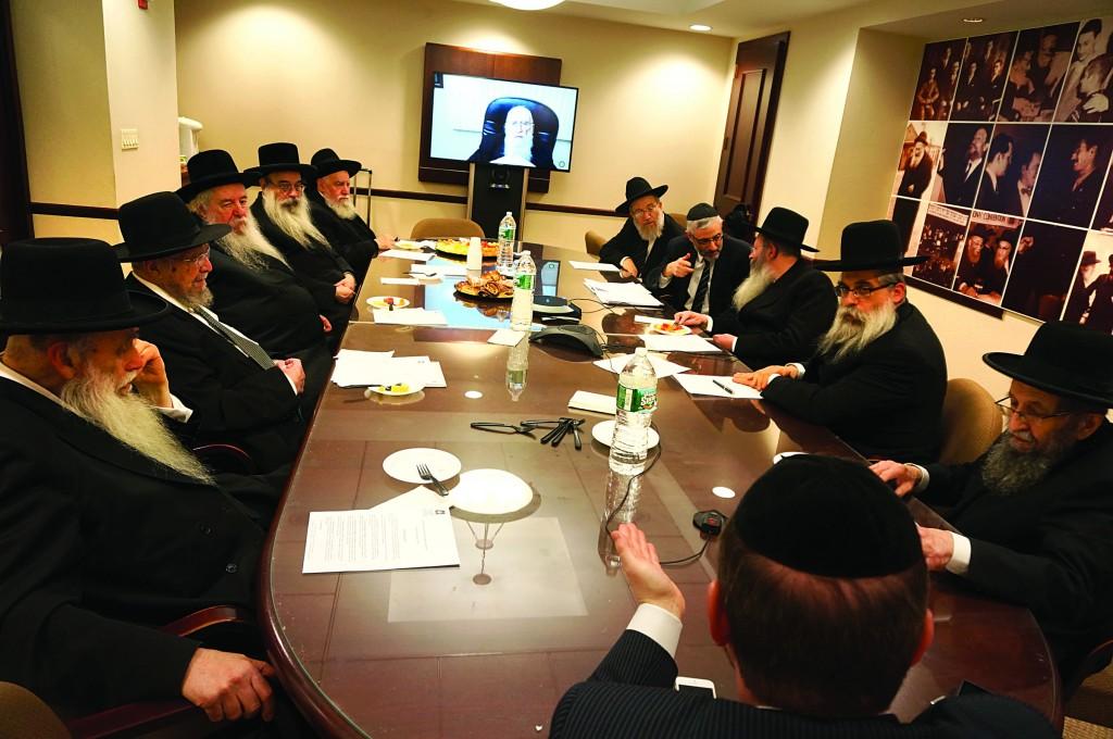 "At a meeting of Agudah's Moetzes Gedolei Yisroel on Thursday, where subjects including Ukraine, the role of Torah Jewry in the U.S., the dangers of the ""Open Orthodoxy"" movement, the latest developments affecting the Torah community in Eretz Yisrael and a proposed new Mishnah Yomi program for youth, were discussed. L-R: Harav Ahron Feldman, Rosh Yeshivah, Yeshivas Ner Yisroel; Harav Dovid Feinstein, Rosh Yeshivah, Mesivta Tiferes Yerushalayim; Harav Yaakov Perlow, Novominsker Rebbe and Rosh Agudas Yisroel; Harav Yosef Frankel, Vyelipoler Rebbe; Harav Yosef Harari-Raful, Rosh Yeshivah, Yeshivat Ateret Torah; Harav Avrohom Chaim Levin, Rosh Yeshivah, Telshe Chicago (by Tele-Conference); Rabbi Labish Becker, Executive Director, Agudath Israel; Rabbi Chaim Dovid Zwiebel Executive Vice President, Agudath Israel; Harav Aryeh Malkiel Kotler, Rosh Yeshivah, Bais Medrash Govoha; Rabbi Yaakov Bleich, Chief Rabbi of Ukraine; Harav Shmuel Kamenetsky, Rosh Yeshivah, Yeshiva of Philadelphia; and Rabbi Yehiel Kalish, Vice President for Development and State Relations, Agudath Israel."